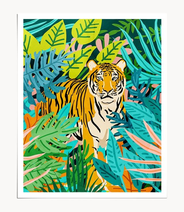 Shop Only 3890 Left botanical jungalow modern boho illustration painting Art Print by artist Uma Gokhale 83 Oranges unique artist-designed wall art & home décor
