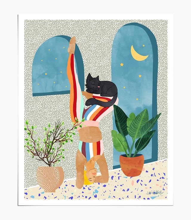 Shop Cat Yoga tropical botanical modern boho illustration painting Art Print by artist Uma Gokhale 83 Oranges unique artist-designed wall art & home décor