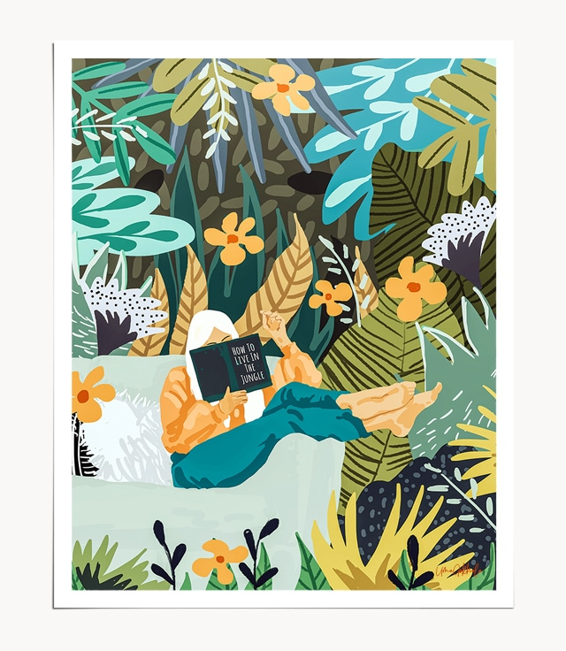 Shop How To Live In The Jungle Art Print, Woman Reading In a Wild Nature Forest IllustrationArt Print by artist Uma Gokhale 83 Oranges unique artist-designed wall art & home décor