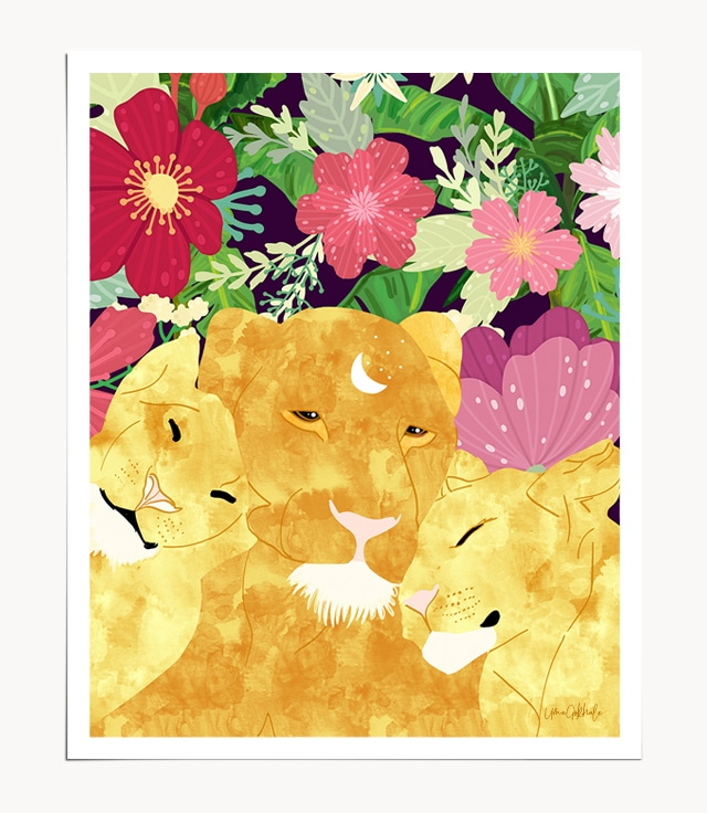 Shop I'll Be Your Lioness When Things Are Messed modern boho illustration Art Print by artist Uma Gokhale unique artist-designed wall art & home décor