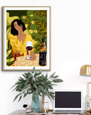 Shop the Wine is the answer..what was the question modern boho illustration painting Art Print by artist Uma Gokhale unique artist-designed wall art & home décor