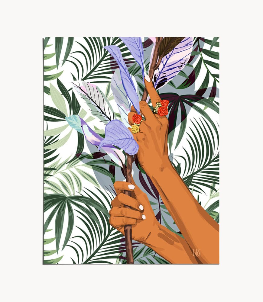 Shop In The Hands of Tropical Nature, Bohemian Eclectic Palm Art Print by artist Uma Gokhale 83 Oranges wall Art & home decor